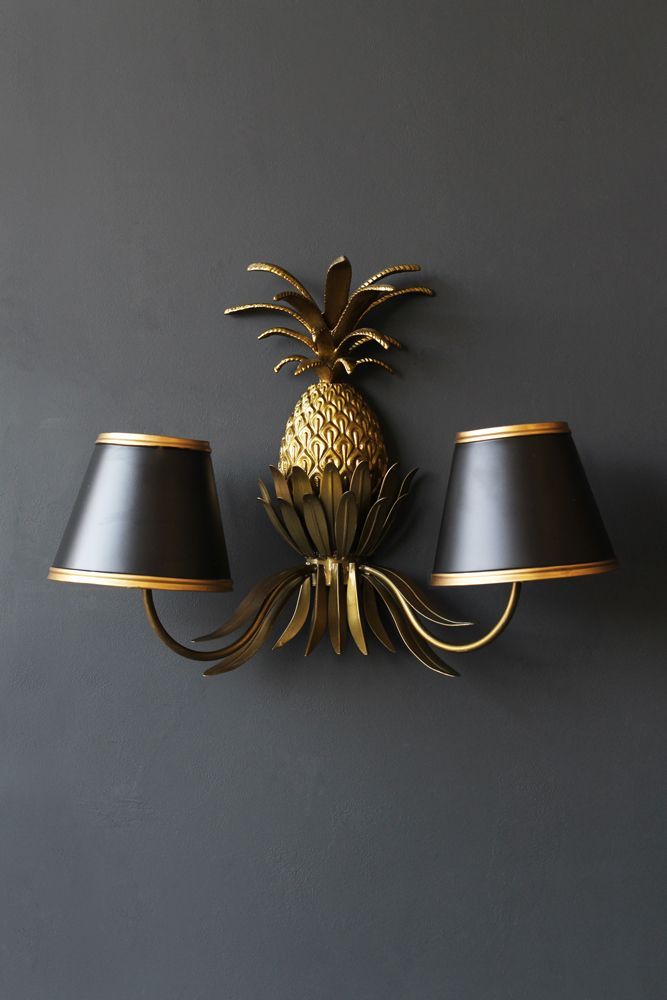 Image of the Gold Pineapple Wall Light on the wall