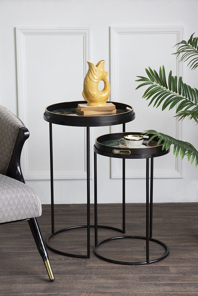 Lifestyle image of the Set Of 2 Marble Effect Tray Side Tables