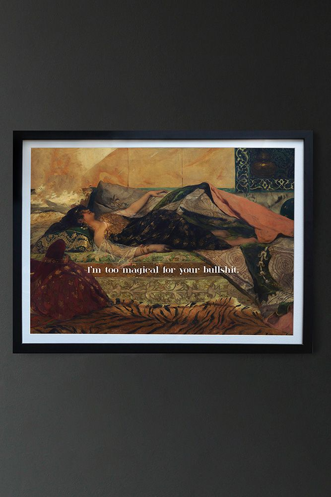 Image of the Framed Too Magical Art Print on a dark wall
