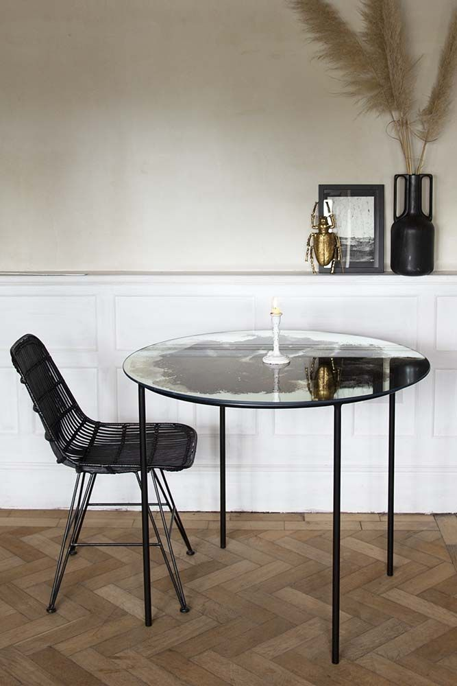 Vintaged Glass Mirror Iron Round Dining Table Rockett St George