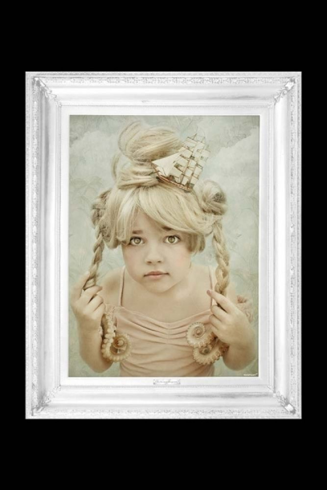 cutout image of sea' - ornate framed canvas print little girl with long blond braids in pink dress on blue background and white frame on black background
