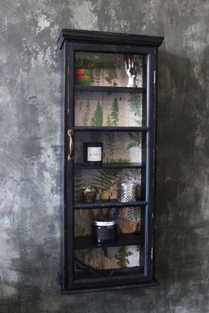 Tall Slim Distressed Wall Cabinet With Botanical Lining Rockett St George
