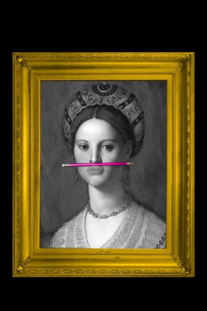 lifestyle image of the pink pencil canvas with printed frame black and white portrait with pink pencil in mouth and yellow frame on black background