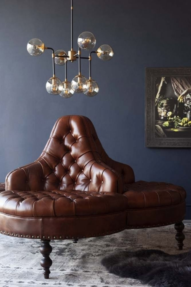 Lifestyle image of the Traditional Leather 4-Seater Borne Settee