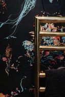 lifestyle image of 17 patterns jellyfish wallpaper - 4 colours available with gold towel rail