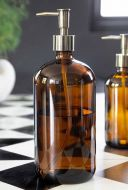 Image of the Amber Tinted Glass Soap Dispenser Bottle - Large