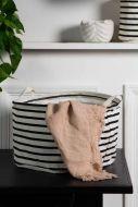Image of the Black & White Stripe Storage Basket - Wide