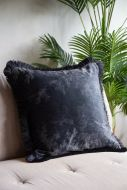 Image of the Black Silhouette In The Woods Velvet Cushion With Fringing