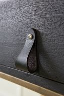Image of the Black Wide Plain Leather Strap fixed to a surface