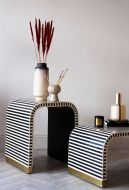Monochrome Stripe Bone Inlay Side Table