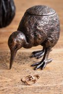 Image of the Bronze Effect Kiwi Bird Tea Light Holder with the lid on
