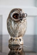 Lifestyle image of the Hand Painted UK Made Owl String & Scissor Holder