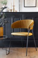 Image of the Curved Back Velvet Dining Chair In Golden Ochre