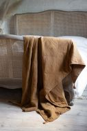 Dark Mustard Cotton Throw With Tassels