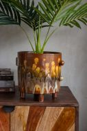 Close-up lifestyle image of the Unique Fire Hand Glazed Planter