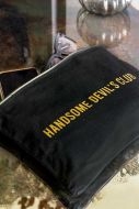 Close-up image of the Black Cotton Handsome Devils Club Pouch Wash Bag