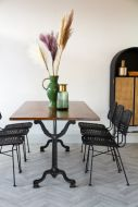 Lifestyle image of the Industrial Cast Iron Dining Table With Wooden Top