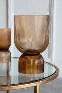 Image of the Large Ombre Brown Vase & Candleholder with the larger section up