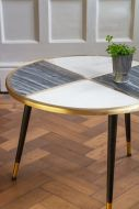 Image of the Black & White Brass Inlay Round Coffee Table