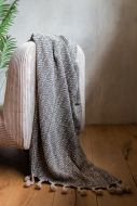 Lifestyle image of the Mono Pattern Tassel Throw