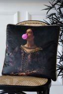 Lifestyle image of the Regal Bubble Gum Velvet Cushion