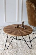 Lifestyle image of the Round Wooden Hairpin Leg Coffee Table