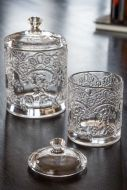 Image of the Set Of 2 Floral Glass Jar With Lids where the Small has the lid off.