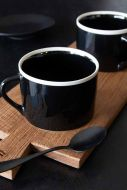 Image of the Set Of 2 Large Black Coffee Mugs With White Rim