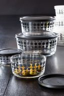 Image of the Set Of 4 Clear Storage Bowls With Black Spot Pattern & Lids