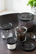 Image of all of the French Marmalade Glass Jars With Black Star Lids
