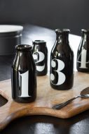 Image of the Set Of 4 Vintage Style Numbered Black Bottles