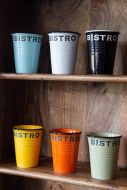 Image of the Set Of 6 Bistro Beaker Cups In Different Colours on shelves