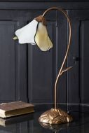 Image of the Art Deco Style Flower Desk Lamp With Leaded Style Ivory Shade