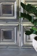 lifestyle image of multiple of small quad traditional tin tile with grey flooring and plant in white pot