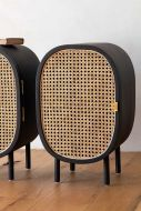 Image of the right Sungkai Woven Cane & Mango Wood Bedside Cabinet
