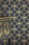 Barneby Gates Honey Bees Wallpaper - Gold on Charcoal - ROLL
