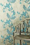 Barneby Gates Paisley Wallpaper - Turquoise on Old Grey - ROLL