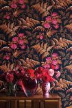 Cole & Son Botanical Botanica - Rose Wallpaper - Cerise & Burnt Orange On Black 115/10029 - ROLL