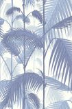 detail image of Cole & Son Contemporary Restyled - Palm Jungle Wallpaper - China Blue 95/1005 - SAMPLE blue and purple toned palm leaves on white background repeated pattern