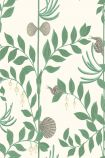 detail image of Cole & Son Whimsical Collection - Secret Garden Wallpaper - Dark Green 103/9030 - SAMPLE green leaves and branches and grey shells on pale background