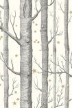 detail image of Cole & Son Whimsical Collection - Natural Woods & Stars Wallpaper - Black & White 103/11050 - SAMPLE black tree trunks and small gold stars on white backgorund