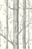detail image of Cole & Son Whimsical Collection - Natural Woods & Stars Wallpaper - 4 Colours Available grey tree trunks and small gold stars on pale background