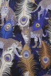 detail image of matthew williamson leopardo wallpaper gold, blue and white peacock feathers on black background