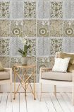 lifestyle image of Mind The Gap Wallpaper Collection - Chinese Pattern - Brown with neutral coloured armchairs and wooden side table with plant