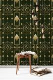 lifestyle image of Mind The Gap Metropolis Collection - Gatsby Wallpaper with wooden side table and magazines on floor