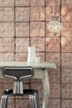 lifestyle image of NLXL TIN-06 Brooklyn Tin Tiles Wallpaper By Merci with white desk and metal desk chair with lit up ceiling light
