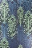 detail image of Matthew Williamson Peacock Wallpaper - Metallic/Jade/Cobalt W6541-01 - SAMPLE green and blue peacock feather repeated pattern