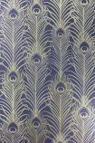 detail image of Matthew Williamson Peacock Wallpaper - Dark Violet/Metallic Gold W6541-03 - SAMPLE gold and blue peacock feather repeated pattern
