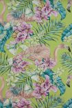 detail image of Matthew Williamson Flamingo Club Wallpaper - Lime/Fuchsia/Peacock W6800-02 - ROLL pink flmaingos and tropical plants on green background
