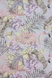 detail image of Matthew Williamson Flamingo Club Wallpaper - Matt Silver/Lilac/Lemon W6800-04 - ROLL pink flamingos and purple toned tropical plants on purple background